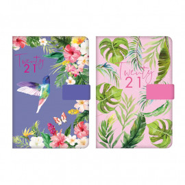 2021 A5 Day to Page Diary Index Floral Fabric Organiser Appointment Diary Magnet Clip