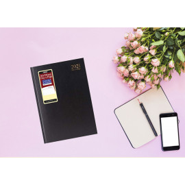 2021 A4 Page a Day Padded Hardback Diary with Full Page Saturday Sunday - Black