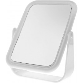 Blue Free Standing White Plastic Cosmetic Mirror