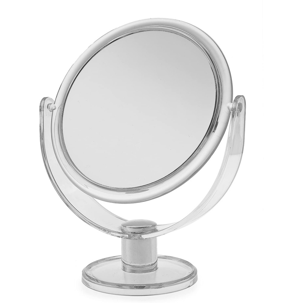 Blue Free Standing Small Round Plastic Cosmetic Mirror
