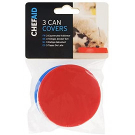 3x Can Covers for Cat Dog Food Cover Fits Standard Size Tin Plastic Lid Lids x3 For Tins Baked Beans