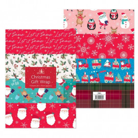 10 x Large Sheets of Christmas Gift Wrap - 50cm x 50 cm - 10 designs
