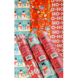 Christmas Gift Wrap Paper 3 Rolls x 20M (60 Metres) presents gifts prize Xmas