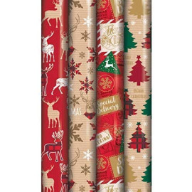 20m CHRISTMAS GIFT WRAPPING PAPER 4x5m ROLL SANTA & FRIENDS