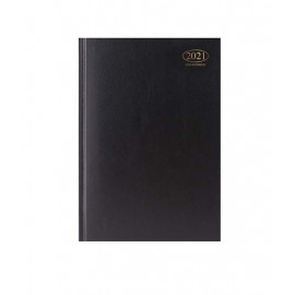 2021 A4 Week To View Casebound Hardback Appointment Diary with Times - Black