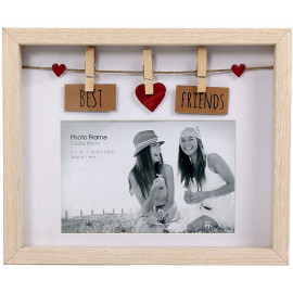 Clothes Line Wooden Box Frame With Pegs For 6 X 4 Photo - Best Friends