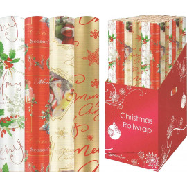 Christmas Wrapping Paper - Traditional Gold / Red / Christmas Tree / Santa [1907]