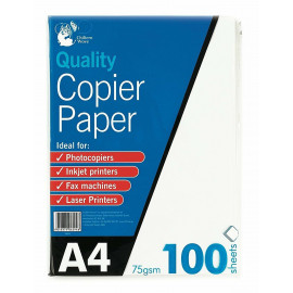 100 SHEETS OF A4 COPIER/PRINTER PAPER FOR HOME & OFFICE USE 75gsm (210 x 297mm)