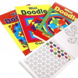 12 Mini A6 Doodle Activity Books - Pattern Colouring - Party Bag Fillers