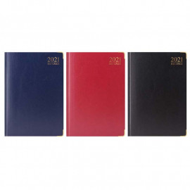 2021 A4 Day to Page Padded Diary Gilt Edge Metal Corner Casebound Diary Assorted Colour