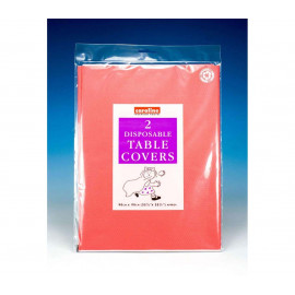 2 Disposable Reusable Table Covers Square Red Paper