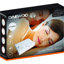 85W Double Heated Blanket with 3 Heat Settings, Detachable Controller,e and Over-Heat Protection - White