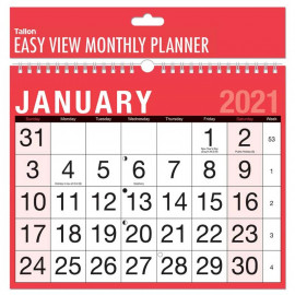2021 A4 Easy Month To View Spiral Bound Wall Planner Calendar Landscape Home Office Work