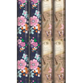 12m Mixed Modern Floral Wrapping Paper - 4 x 3m Roll's - Female Flowers