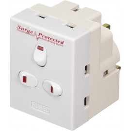 13 A 3 Way 3 Gang Switched Surge Protected Plug-In Adapter with Neon Switch - White