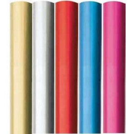 5 x Pack of Gift Wrapping Paper - Sparkling Plain Foil (Gold / Silver / Red / Blue / Pink)