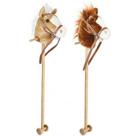 100cm Kids Neighing & Galloping Hobby Stick Horse Toy with Sound Wheels (Assorted Colours)