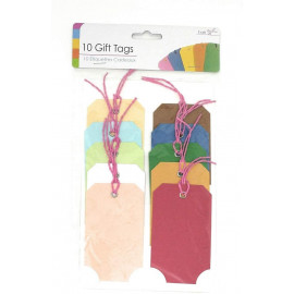 10 Multi Coloured Gift Tags (Each Tag is 100mm x 60mm approx.)