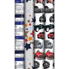 12m Mixed Male Gift Wrapping Paper - 4x3m Roll's - Boy's Birthday Generic