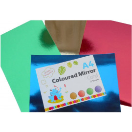 Kids Create Pack Of 24 Sheets Mirrored Metallic A4 Coloured 300gsm Card Assorted Colours