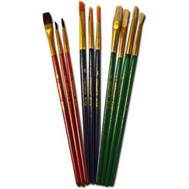 10 Paint Brushes Synthetic,Natrual Hair and Bristle