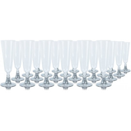 24 Clear Plastic Champagne Flutes/Glasses 140ml