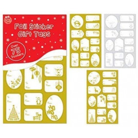 75 Foil Sticker Christmas Gift Tags Labels Gold and Silver