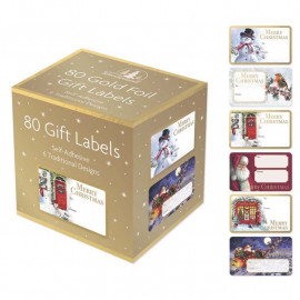 Christmas Collection Gold Foil Adhesive Label Pack of 80 labels