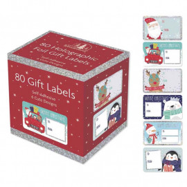 Christmas Collection Holographic Adhesive Label (Pack of 80)