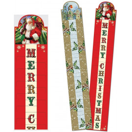 2 Traditional Christmas Red & Gold Greetings Card Holders - Santa & Robbins Holly Leaf Berries - Holds upto 60 Card
