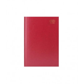 2021 A4 Week To View Casebound Hardback Appointment Diary with Times - Red
