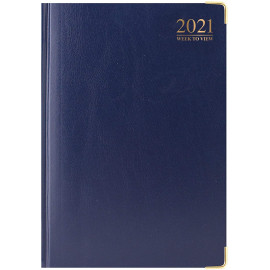 2021 A4 Week To View Padded Hardback Desk Diary with Metal Corners - Blue