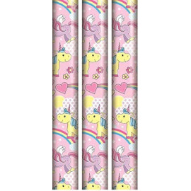 3 Unicorn Gift Wrap Roll Wrapping Paper Cute 2.5m Luxury Xmas Greetings Wedding Birthday Kids Party Occasion Present Tag Craft