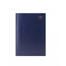 2021 A4 Week to View Casebound Hardback Appointment Book Diary with Times Planner Office (Blue)
